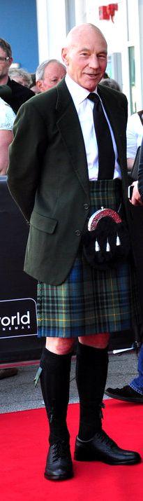 Patrick Stewart in a kilt! I'm on a kilt spree today. Patrick Stewart, Men In Kilts, Isabelle, Cinema, Raining Men, Geek Girls, Tartan Plaid, Star Trek, Hot Guys