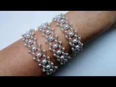 How to Make an Ivory gray Double Strand Bracelet with Seed Beads and Pearl Beads - YouTube