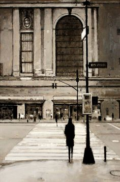 Crossing at Grand Central | From a unique collection of landscape paintings at http://www.1stdibs.com/art/paintings/landscape-paintings/