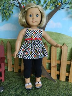 """American Girl doll clothes summer outfit for American Girl doll or similar 18"""" doll by SewCuteJune on Etsy"""