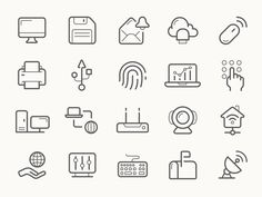 Home network line icons by Anton Frizler