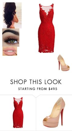 """""""Untitled #471"""" by alanna-66 ❤ liked on Polyvore featuring ML Monique Lhuillier, Christian Louboutin and Perfection Beauty"""