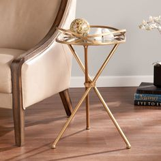 Leslie Metal Mirrored Accent Table