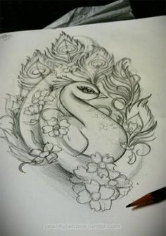 Peacock tattoo idea, not sure if this would actually make it somewhere on my body, but I do like the look. by jasmine