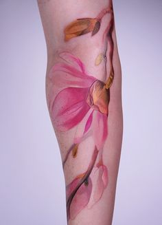 love the colors, not crazy about location::flower tattoo madalynkdesign