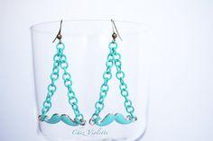 Mustache earrings Blue fresh mint earring by chezviolette www.pinterest.com/cocoflower