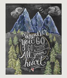 Wanderlust Print - Travel Quote Print - Chalk Art - Mountain Art - Gift For Traveler - Nature Illustration - Hipster Art - Inspirational Art