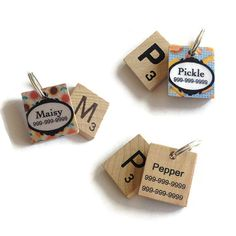 NEW Design for 2015!  Choose your favourite pet tag design & we will match your pets initial to a coordinating Scrabble tile for the ultimate look.