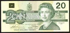 Banknote: Canada Bank Notes : $20 Dollars 1991 Twenty Old Paper Money Nice Bill Qeii