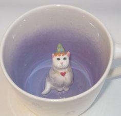 Valentine Cat Surprise Mug by SpademanPottery on Etsy, $29.00