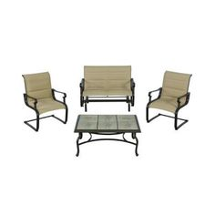 Hampton Bay Belleville Padded Sling 4-Piece Patio Seating Set-FCS80231RST - The Home Depot $500