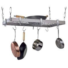 Casa Stainless Steel (Silver) Rectangular Ceiling Rack Pot Rack Hanging, Hanging Pots, Hanging Storage, Ceiling Hanging, Ceiling Lights, Ceiling Storage, Metal Grid, Cool Kitchens, Small Kitchens