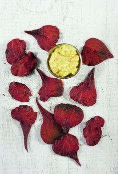Baked beets chips with deviled egg dip