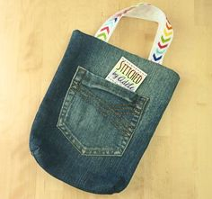 Upcycled denim jeans, eco small tote bag, jeans pocket bag, rainbow chevron by StitchedByAdele on Etsy