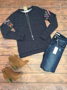 Navy Aztec Sweatshirt