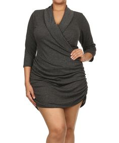 Charcoal Ruched Surplice Top - Plus #zulily #zulilyfinds