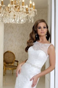 Lace Wedding Dress 2015 Bridal Gown Boat-Neck Sleeveless Straight ...