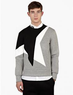 Neil Barrett Grey Neoprene 'Kaboom' Panelled Sweatshirt
