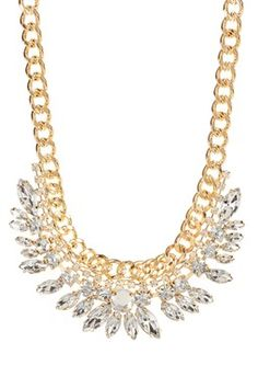 Feather Crystal Frosted Necklace