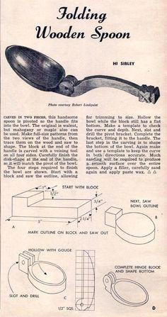 # 1870 Изготовление Складная деревянная ложка - резьба по дереву Деревообработка Планы