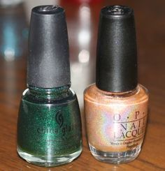 Polish Giveaway!!   China Glaze Emerald Sparkle and OPI Opening Night Gold  Contest closes July 31st!!