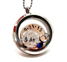 Wedding Living Locket / Wedding Floating Charm Necklace / Memory Locket