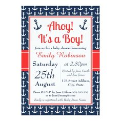 Nautical Child Bathe Invitation - Boy. *** Discover even more at the image Learn more at http://www.zazzle.com/nautical_baby_shower_invitation_boy-161923783948776637?rf=238986102771821647