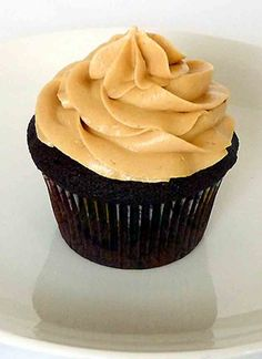 Dark Chocolate Cupcakes with Peanut Butter Frosting.