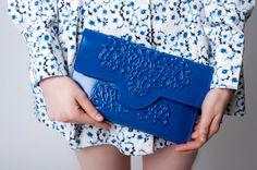 Brilliantly blue handbag unique clutch purse chic by MeDusaBrand, $75.00