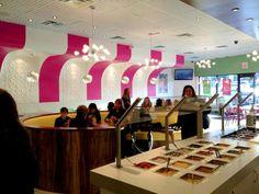 Ceilume ceiling tiles. CC Swirls Yogurt Shop Design