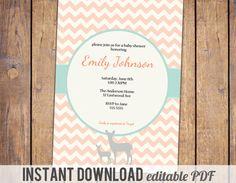 Deer Fawn Baby Shower Invitation Girl Baby by JoyPribishDesigns, $12.00