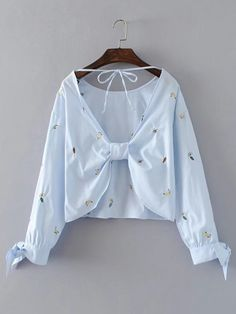 Shop Open Back Lace Up Detail Embroidery Top online. SheIn offers Open Back Lace Up Detail Embroidery Top & more to fit your fashionable needs. Girl Outfits, Casual Outfits, Cute Outfits, Fashion Outfits, Crop Top Outfits, Beautiful Blouses, Girl Fashion, Fashion Spring, Blouses For Women