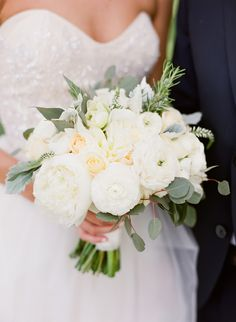 Such a PRETTY wedding bouquet! Love the slight peach tone to a few of the roses. See the wedding on SMP: http://www.StyleMePretty.com/2014/03/10/herb-garden-inspired-wedding-at-ojai-valley-inn/ Photography: Lavender & Twine