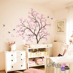 Large Tree with Birds Vinyl Wall Decal Sticker for Baby Room – - Babyzimmer Nursery Wall Decals, Wall Decal Sticker, Wall Stickers, Wall Murals, Wall Art, Tree House Decor, Home Decor, Tree Decals, Bird Tree