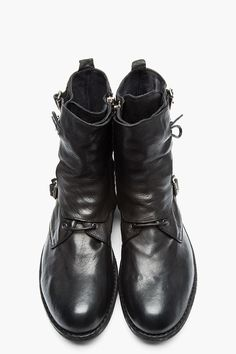 OFFICINE CREATIVE Black Leather Buckled Lace-Up SERRANO Boots