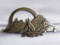 J.J. silver tone Peweter Southwest Mountain & Howling Coyote pin brooch | eBay