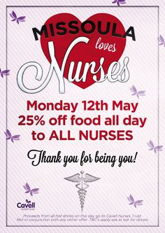 The customers of Missoula Bar and Restaurant raised £157.00 from the sale of hot drinks on International Nurses' Day - thanks guys!