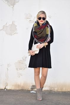 Nordstrom, Black Dress, Swing Dress, Blanket Scarf, Fall Style, Julie Vos, Grey Boots, Open Toe Booties, Blanket Scarf, Plaid Blanket Scarf, Fall inspiration, Braid, GiGi New York, Ray Ban Sunglasses