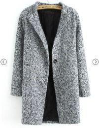 Buenos Ninos Autumn Winter Women Casual Coat Tops Outerwear New Fashion Grey Long Sleeve Single Button Tweed Overcoat Long Grey Coat, Long Wool Coat, Gray Coat, Langer Mantel, Tweed Coat, Houndstooth Coat, Vintage Stil, Fashion Mode, Winter Fashion