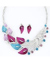 PEACOCK FEATHERS DESIGN NECKLACE EARRINGS SET