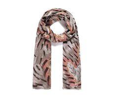 PINK/BROWN LEAF Print Oversized Lightweight Fashion Scarf