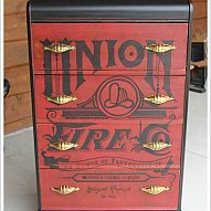 Hometalk :: We took a crudy old waterfall dresser and added a vintage Fire House l…