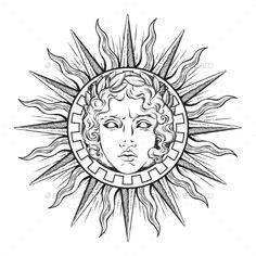 Sun with Face of God Apollo or Helios – Decorative Symbols Decorative Sonne mit Antlitz Gottes Apollo oder Helios – Dekorative Symbole Dekorativ Kunst Tattoos, Body Art Tattoos, Maori Tattoos, Small Tattoos, Tattoo Sketches, Tattoo Drawings, Apollo Tattoo, Gott Tattoos, Greek God Tattoo