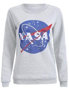Sweatshirts | Light gray Fashion Galaxy Print Round Neck Sweatshirt For Women - Gamiss