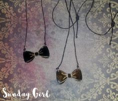 Black bow handmade brass necklaces (or any other color)