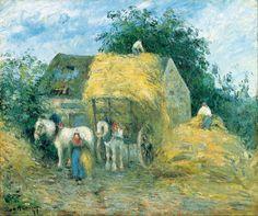 classic-art: The Hay Cart, Montfoucault Camille Pissarro, 1879