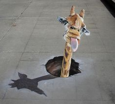 giraffe popping head out of ground 3D pavement art by Douglas Rouse