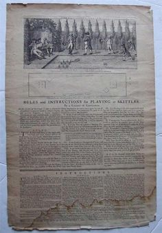 1786 Broadside, Rules & Instructions for Playing at Skittles, Rare 18th century in Collectables, Memorabilia, Historical | eBay