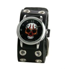 Nemesis Men's EB924K Punk Rock Collection Black Angry Skull Leather Band Watch Nemesis. $31.05. Silver-Tone Case. Durable mineral crystal. Case diameter: 41 mm. Quartz movement. Water-resistant to 99 feet (30 M). Save 16% Off!