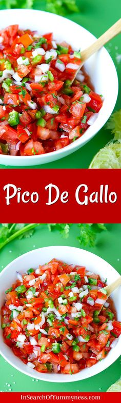 Pico de gallo, sometimes referred to as Salsa Fresca, is a fresh salsa made with raw tomatoes, onions, serrano chili peppers, cilantro, lime and salt. Learn how to make this healthy, no-cook recipe at InSearchOfYummyness.com.